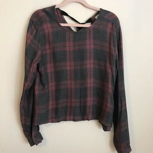 Bella Dahl Tie Back Plaid Blouse